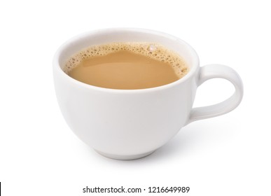 White cup of creamy coffee isolated on white background with clipping path