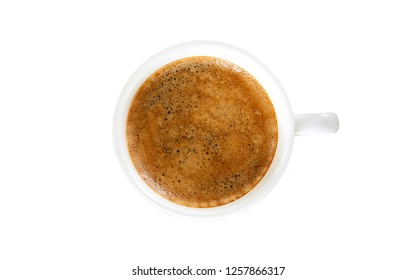 White cup of espresso coffee with crema isolated on white background, with clipping path