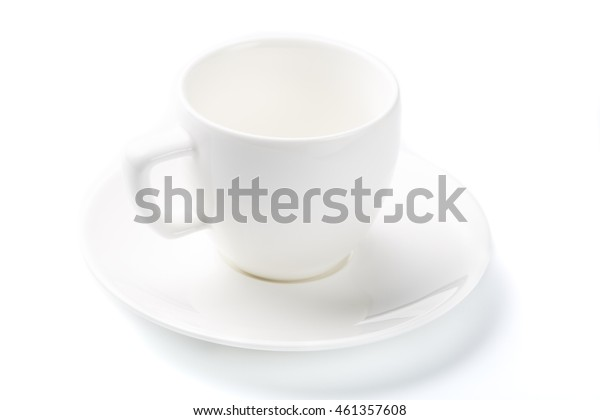 White cup of espresso coffee on an isolated background