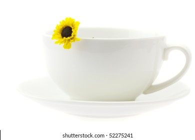 white cup and a flower isolated on white