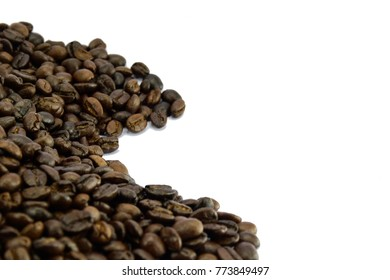 white Cup of hot black coffee and coffee beans isolated on white background.For design or print.food and drink.