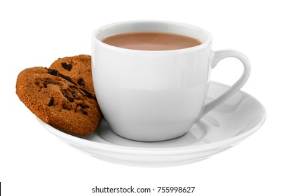 White cup of hot drink with cookies on white isolated background