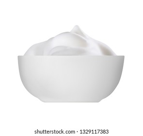 white cup of milk cream with milk jug, isolated