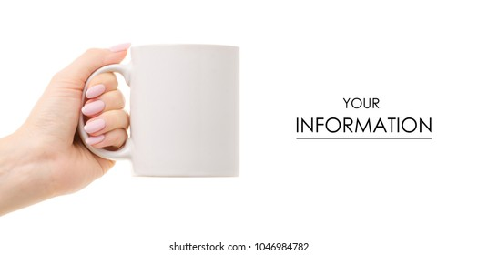 A white cup mug in hand pattern on a white background