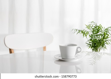 White cup on the kitchen table, with green plant in the background.