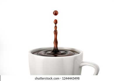 White cup with one drop coffee splash. On white background. Close up view.