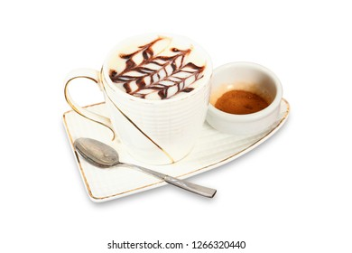 White cup of salep milky hot drink of Turkey with cinnamon powder on isolated white background