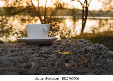 A white Cup and saucer stands on a stone with autumn leaves on a blurred background of nature in the form of a bokeh. The concept of the ability to devote time to yourself rest and relaxation