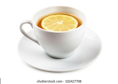 White cup of tea with lemon on a white plate isolated over white background