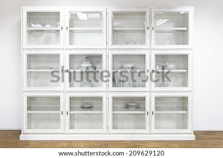 White Cupboard Display Cabinet Glass Doors Stock Photo Edit Now