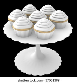 White cupcakes on stand - 3d computer generated