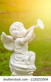 White Cupid Sculpture trumpet Blow
