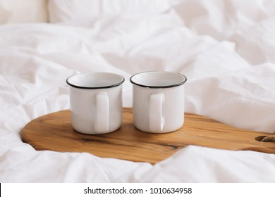 White cups. Breakfast in bed. White bedroom. Sweet home. coffee cup. flat lay