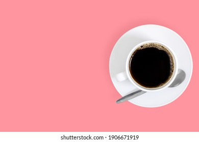 White cups with coffee on a bright colored background.