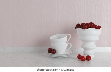 White cups on the marble shelf, vase with cherries. Kitchen design. 3D illustration.