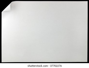White Curled Edge Page Curl, isolated on black