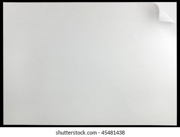 White Curled Edge Page Curl Background Paper Sheet, isolated on black