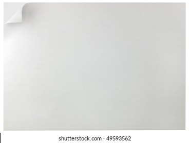 White Curled Edge Page Curl Background, isolated double sheet