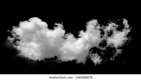 White curly cloud on a black isolated background for overlaying an image, a blank for design