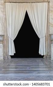 White Curtains Coulisse Drapes Decor Entrance