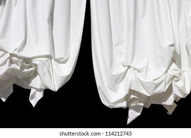 White Curtains Isolated on Black as Design Element