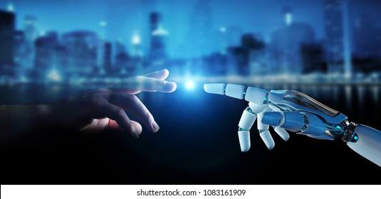 White cyborg finger about to touch human finger on city background 3D rendering