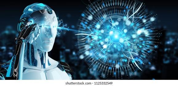 White cyborg on blurred background using digital eye surveillance hologram 3D rendering