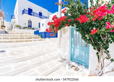 White cycladic streets with bougainvillea on Paros island, Greece