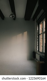 white cyclorama in photostudio. natural daylight from large windows