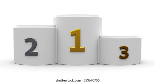 White cylinder podium with three rank places, three-dimensional rendering, 3D illustration