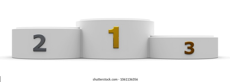 White cylinder wide podium with three rank places, 3D illustration