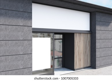 White, dark wooden and dark gray stone cafe facade with a vertical poster and a glass door. A side view. 3d rendering mock up
