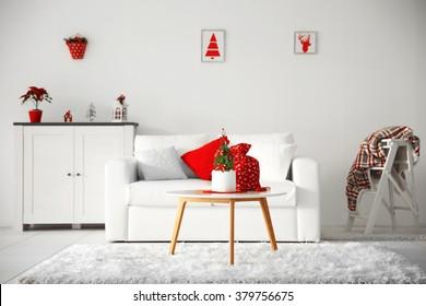 White decorated Christmas interior