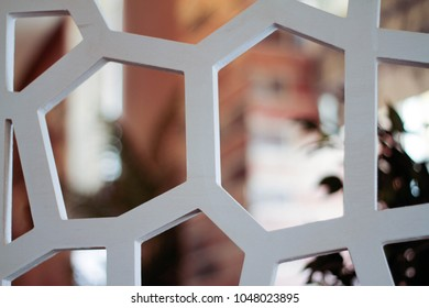 White decorative perforated panels closeup
