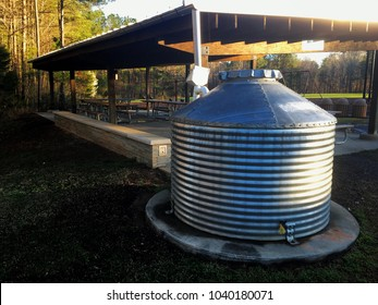 White Deer Park in Garner, North Carolina using large rain collectors at a picnic pavilion to conserve water. Good stewards for the environment. Raleigh, Triangle, Wake County