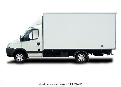 White Delivery Truck with Cool Wheels