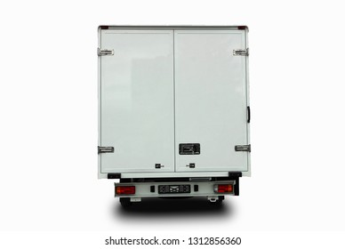White delivery van isolated on white background, back view