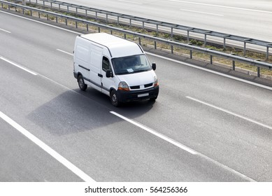 White Delivery Van On Highway