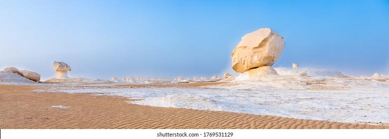 White Desert at Farafra in the Sahara of Egypt. Africa. Web banner in panoramic view.