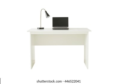 White desk with lamp and laptop isolated on white background include clipping path.