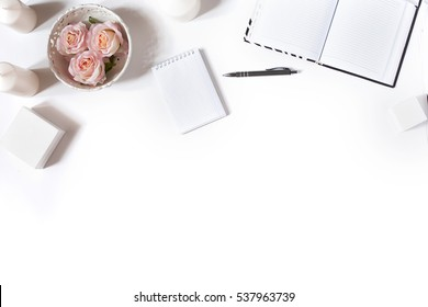 White desk with office accessories. Top view, flat lay
