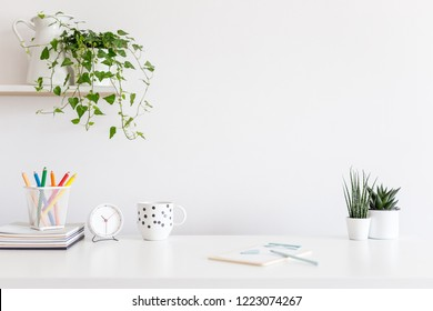 White desk with stationery, books and plants and white wall for mock up or product montage.