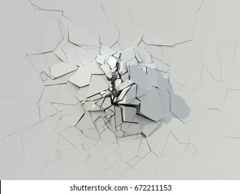 White Destroyed Wall. 3D Illustration.