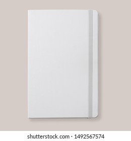 White diary, notebook with rubber band, top view flat lay, mock-up for design