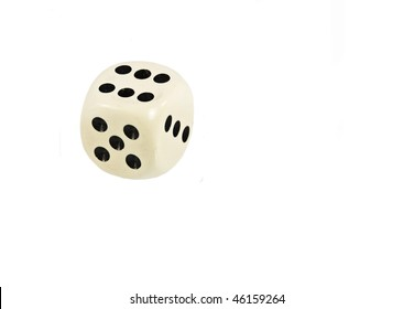 White Dice Showing Six Isolated On White