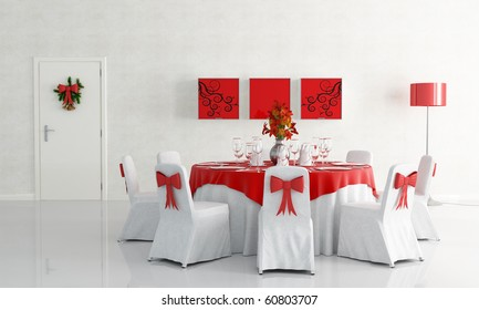 white dining room with christmas table set