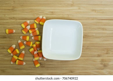 White dish with candy corn