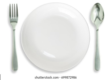 White dish, spoon and fork isolated white background with clipping path.