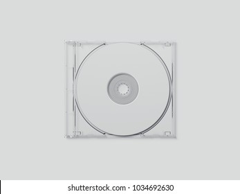 White disk with transparent package isolated on gray background. 3d rendering