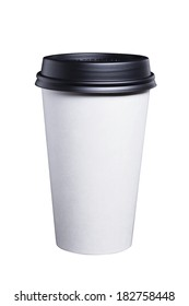 White disposable paper coffee cup with a black plastic lid.